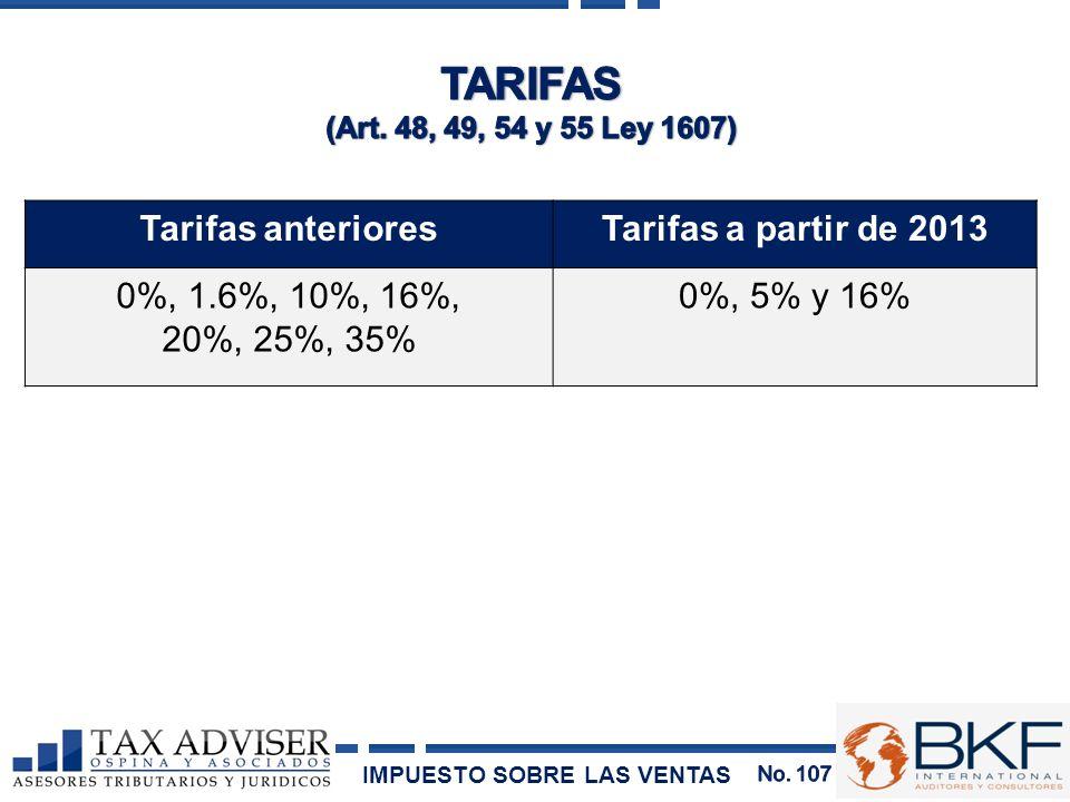 Tarifas anterioresTarifas a partir de 2013 0%, 1.6%, 10%, 16%, 20%, 25%, 35% 0%, 5% y 16% IMPUESTO SOBRE LAS VENTAS
