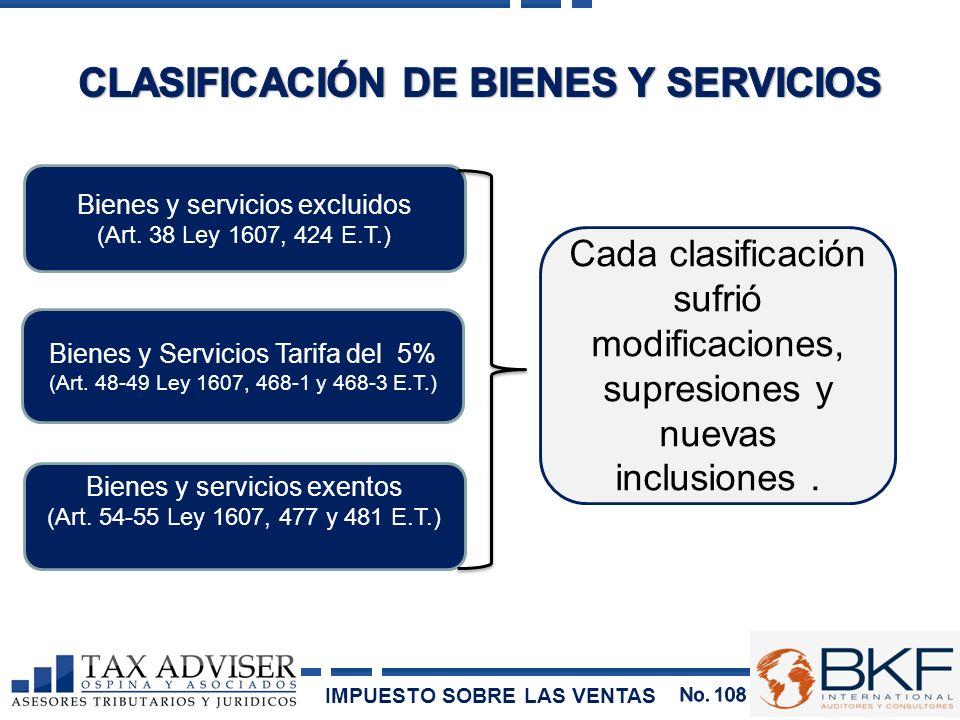 Bienes y servicios excluidos (Art. 38 Ley 1607, 424 E.T.) Bienes y Servicios Tarifa del 5% (Art. 48-49 Ley 1607, 468-1 y 468-3 E.T.) Bienes y servicio