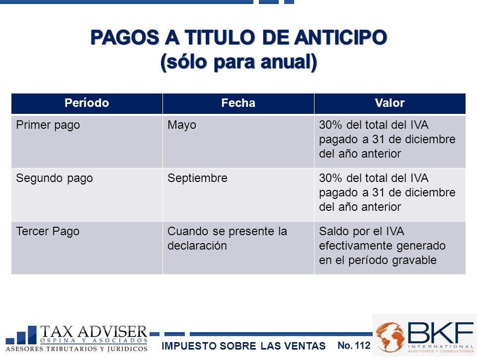 PeríodoFechaValor Primer pagoMayo30% del total del IVA pagado a 31 de diciembre del año anterior Segundo pagoSeptiembre30% del total del IVA pagado a