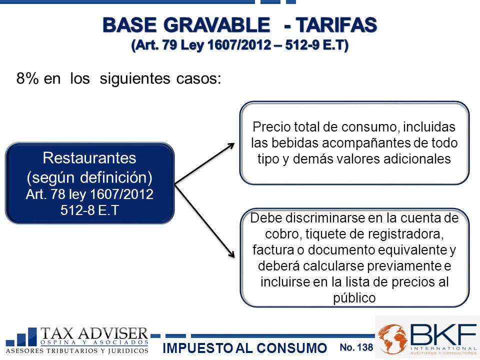 8% en los siguientes casos: Precio total de consumo, incluidas las bebidas acompañantes de todo tipo y demás valores adicionales Debe discriminarse en