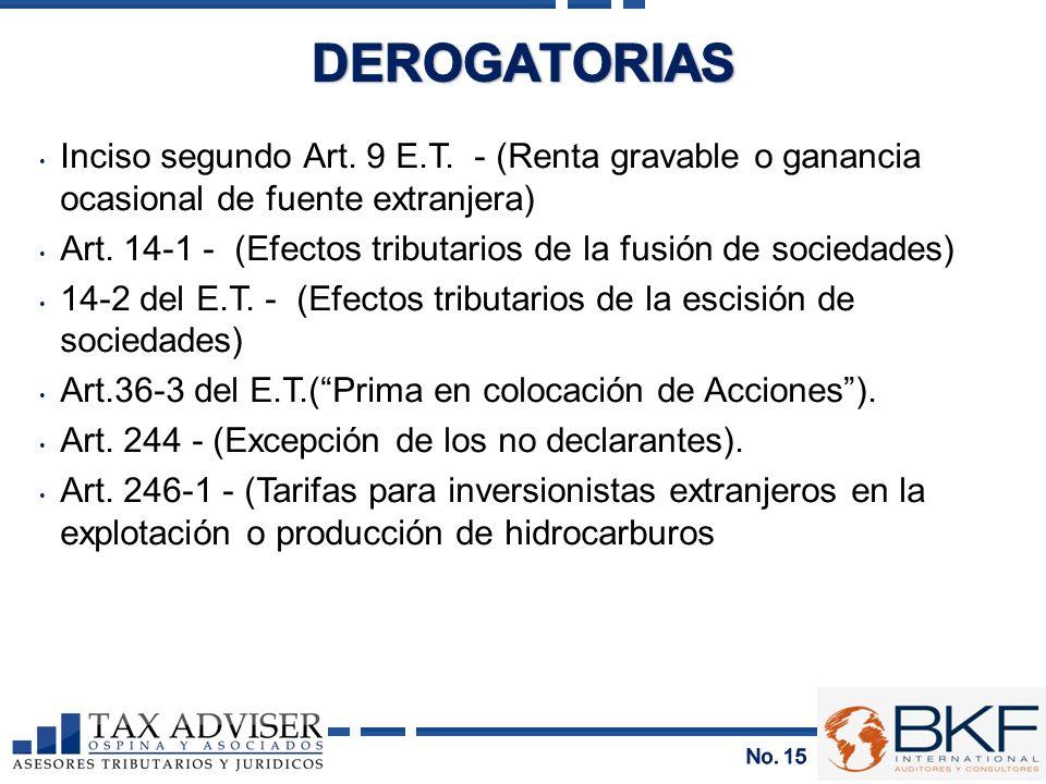 Inciso segundo Art. 9 E.T. - (Renta gravable o ganancia ocasional de fuente extranjera) Art. 14-1 - (Efectos tributarios de la fusión de sociedades) 1
