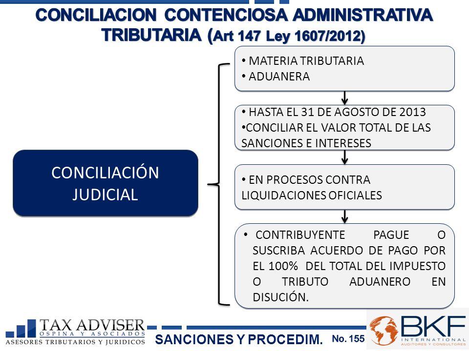 MATERIA TRIBUTARIA ADUANERA MATERIA TRIBUTARIA ADUANERA CONCILIACIÓN JUDICIAL HASTA EL 31 DE AGOSTO DE 2013 CONCILIAR EL VALOR TOTAL DE LAS SANCIONES