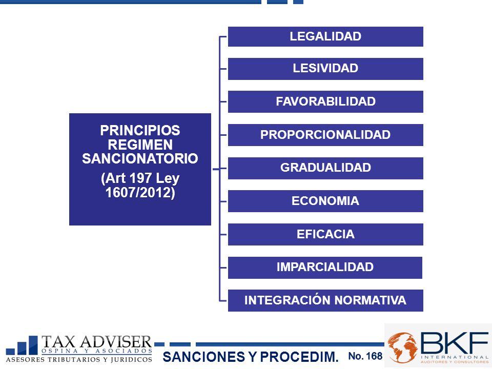 PRINCIPIOS REGIMEN SANCIONATORIO (Art 197 Ley 1607/2012) LEGALIDAD LESIVIDAD FAVORABILIDAD PROPORCIONALIDAD GRADUALIDAD ECONOMIA EFICACIA IMPARCIALIDA