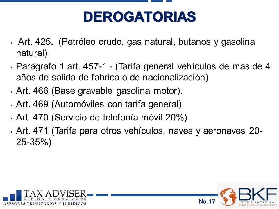 Art. 425. (Petróleo crudo, gas natural, butanos y gasolina natural) Parágrafo 1 art. 457-1 - (Tarifa general vehículos de mas de 4 años de salida de f