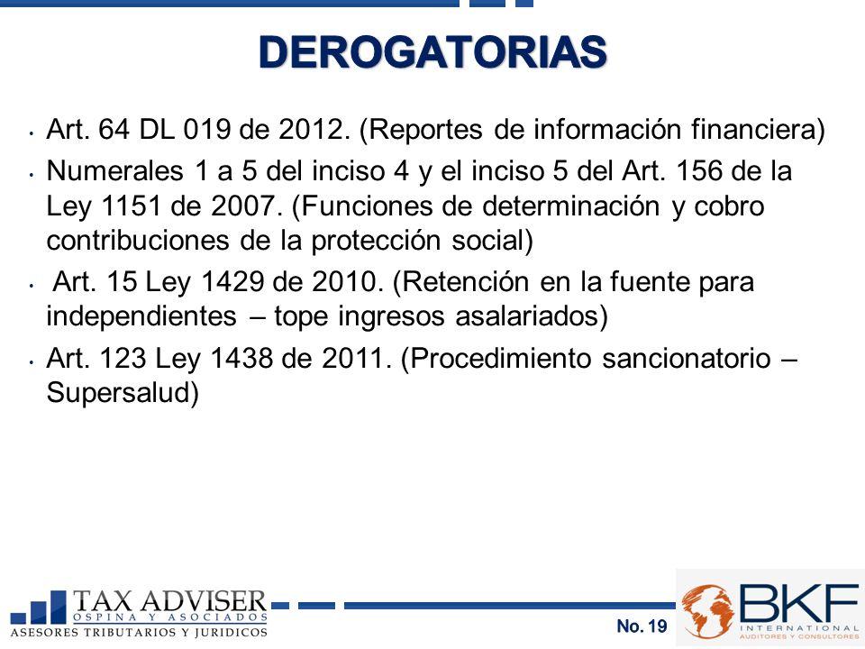 Art. 64 DL 019 de 2012. (Reportes de información financiera) Numerales 1 a 5 del inciso 4 y el inciso 5 del Art. 156 de la Ley 1151 de 2007. (Funcione