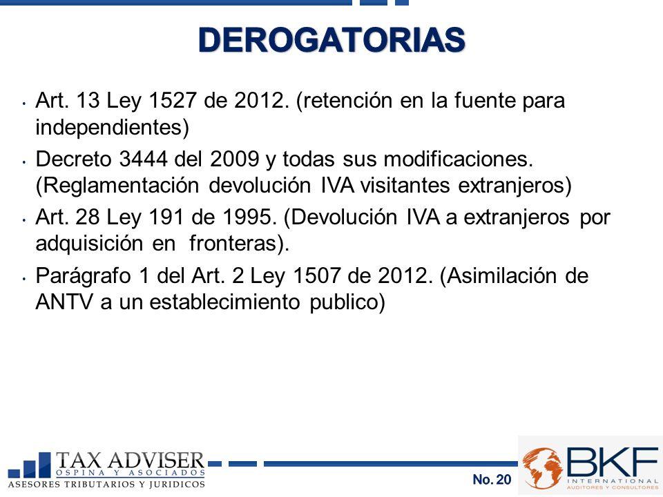 Art. 13 Ley 1527 de 2012. (retención en la fuente para independientes) Decreto 3444 del 2009 y todas sus modificaciones. (Reglamentación devolución IV
