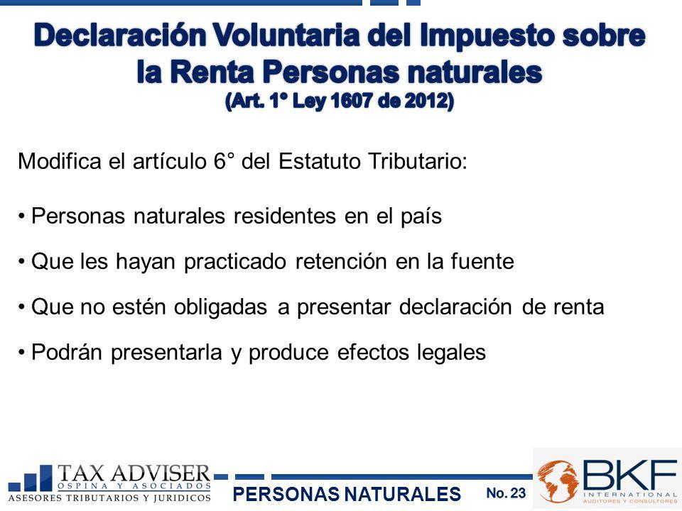 Modifica el artículo 6° del Estatuto Tributario: Personas naturales residentes en el país Que les hayan practicado retención en la fuente Que no estén