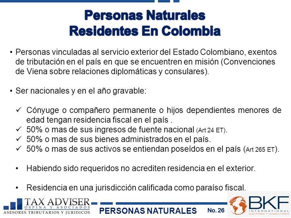 Personas vinculadas al servicio exterior del Estado Colombiano, exentos de tributación en el país en que se encuentren en misión (Convenciones de Vien