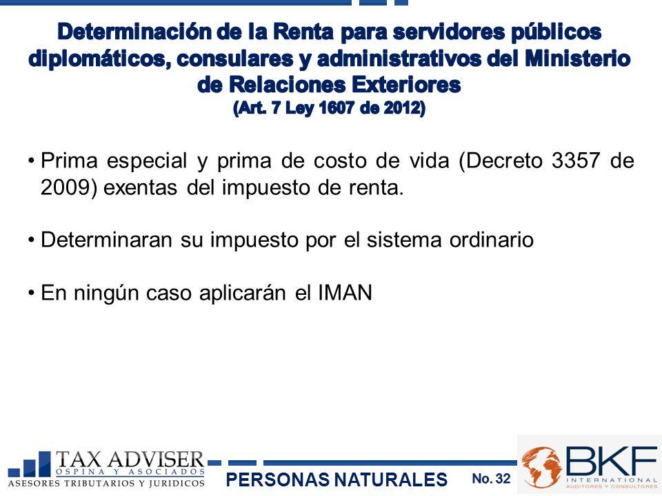 Prima especial y prima de costo de vida (Decreto 3357 de 2009) exentas del impuesto de renta. Determinaran su impuesto por el sistema ordinario En nin