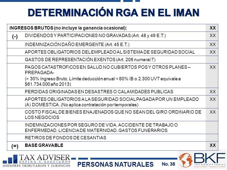 INGRESOS BRUTOS (no incluye la ganancia ocasional):XX (-) DIVIDENDOS Y PARTICIPACIONES NO GRAVADAS (Art. 48 y 49 E.T.)XX INDEMNIZACIÓN DAÑO EMERGENTE