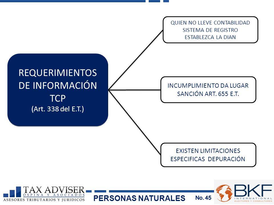 QUIEN NO LLEVE CONTABILIDAD SISTEMA DE REGISTRO ESTABLEZCA LA DIAN EXISTEN LIMITACIONES ESPECIFICAS DEPURACIÓN REQUERIMIENTOS DE INFORMACIÓN TCP (Art.