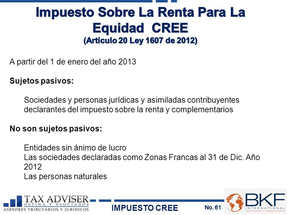 A partir del 1 de enero del año 2013 Sujetos pasivos: Sociedades y personas jurídicas y asimiladas contribuyentes declarantes del impuesto sobre la re