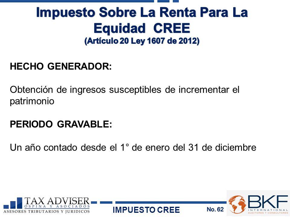 HECHO GENERADOR: Obtención de ingresos susceptibles de incrementar el patrimonio PERIODO GRAVABLE: Un año contado desde el 1° de enero del 31 de dicie
