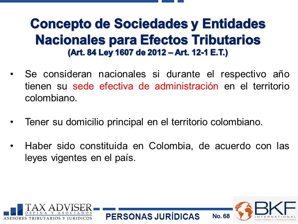 Se consideran nacionales si durante el respectivo año tienen su sede efectiva de administración en el territorio colombiano. Tener su domicilio princi