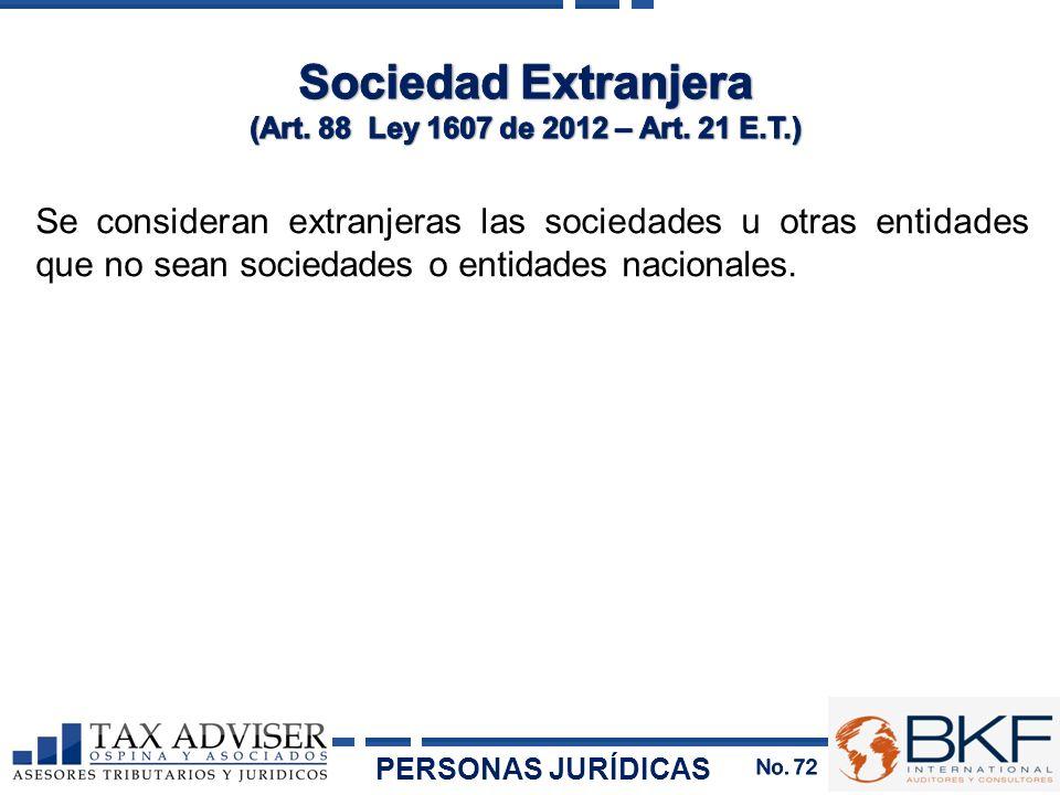 Se consideran extranjeras las sociedades u otras entidades que no sean sociedades o entidades nacionales. PERSONAS JURÍDICAS