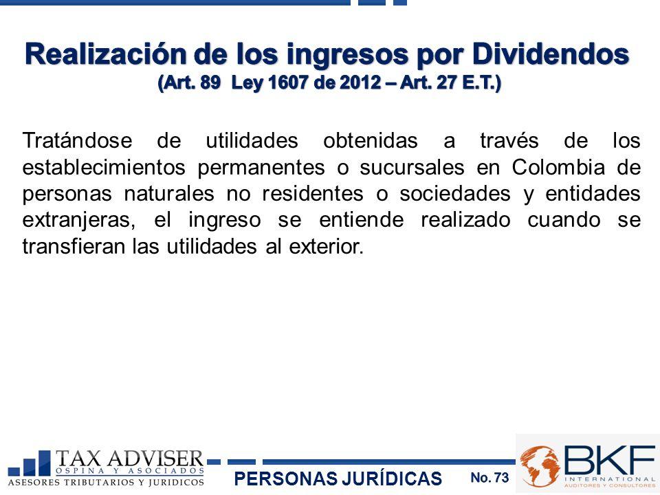 Tratándose de utilidades obtenidas a través de los establecimientos permanentes o sucursales en Colombia de personas naturales no residentes o socieda