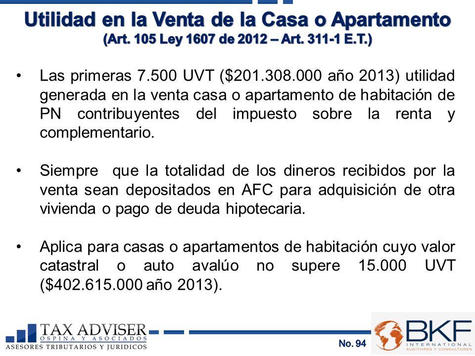 Las primeras 7.500 UVT ($201.308.000 año 2013) utilidad generada en la venta casa o apartamento de habitación de PN contribuyentes del impuesto sobre