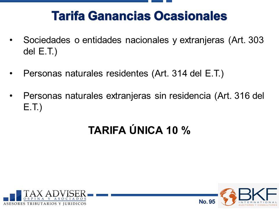 Sociedades o entidades nacionales y extranjeras (Art. 303 del E.T.) Personas naturales residentes (Art. 314 del E.T.) Personas naturales extranjeras s