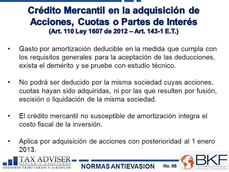 Gasto por amortización deducible en la medida que cumpla con los requisitos generales para la aceptación de las deducciones, exista el demérito y se p