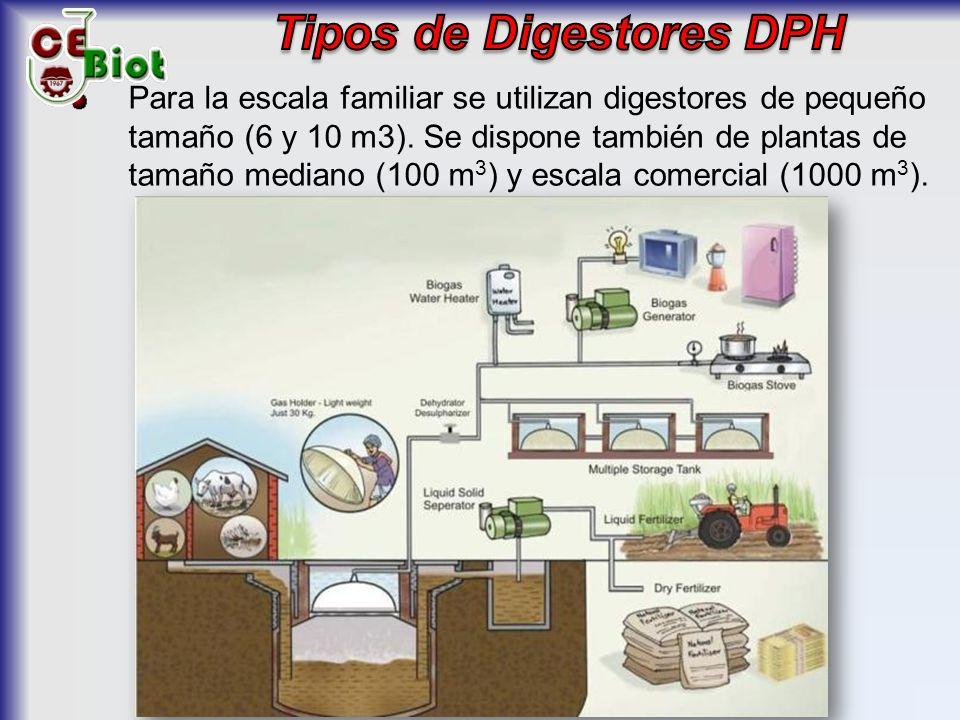 Para la escala familiar se utilizan digestores de pequeño tamaño (6 y 10 m3).