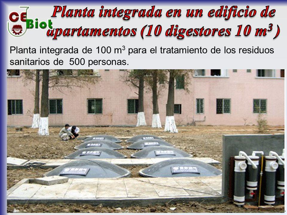 Planta integrada de 100 m 3 para el tratamiento de los residuos sanitarios de 500 personas.