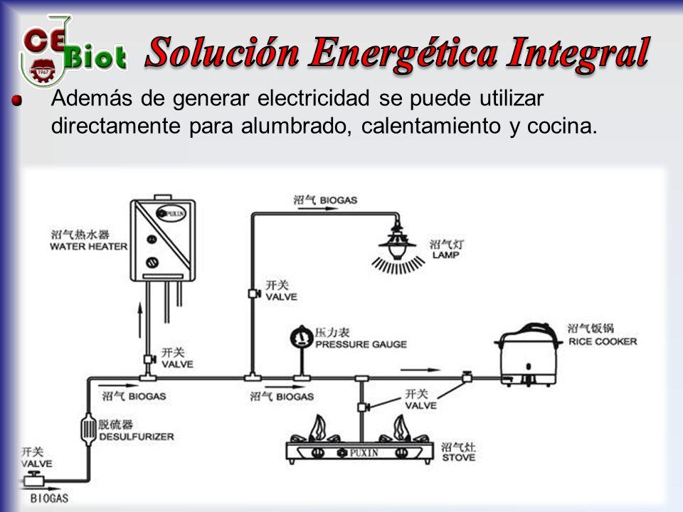Además de generar electricidad se puede utilizar directamente para alumbrado, calentamiento y cocina.