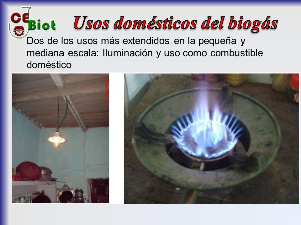 Dos de los usos más extendidos en la pequeña y mediana escala: Iluminación y uso como combustible doméstico