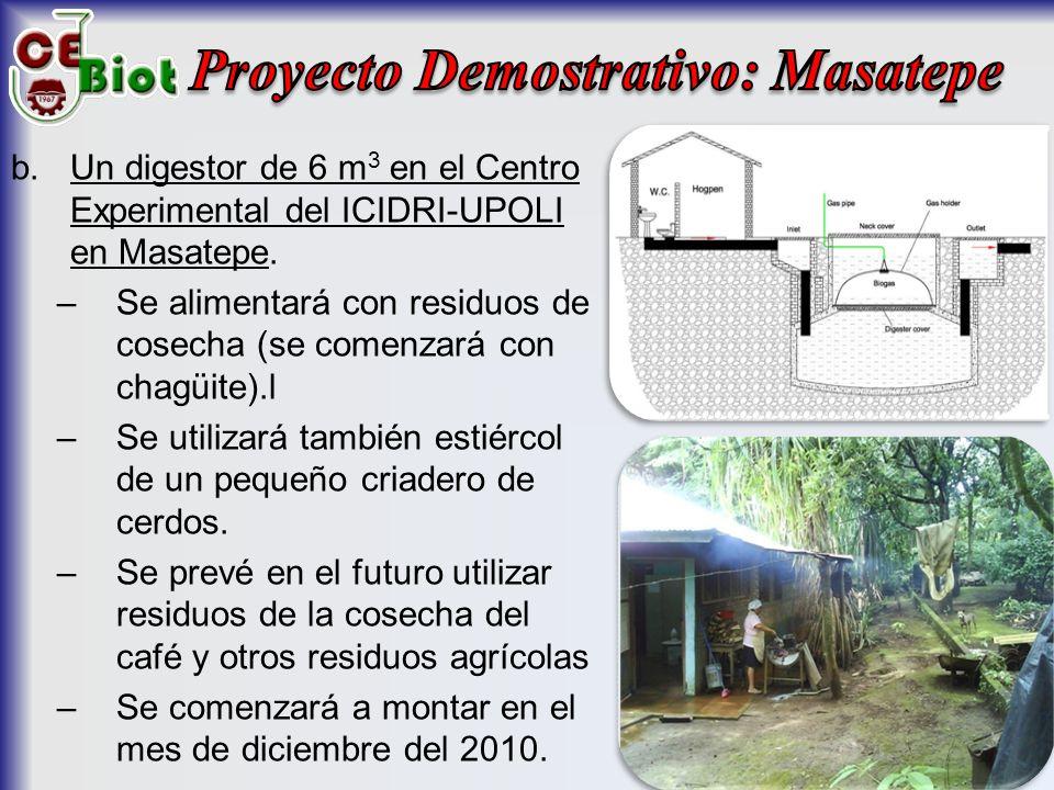b.Un digestor de 6 m 3 en el Centro Experimental del ICIDRI-UPOLI en Masatepe.