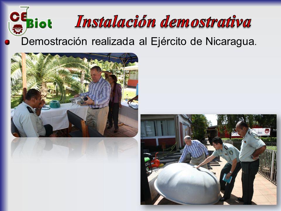 Demostración realizada al Ejército de Nicaragua.