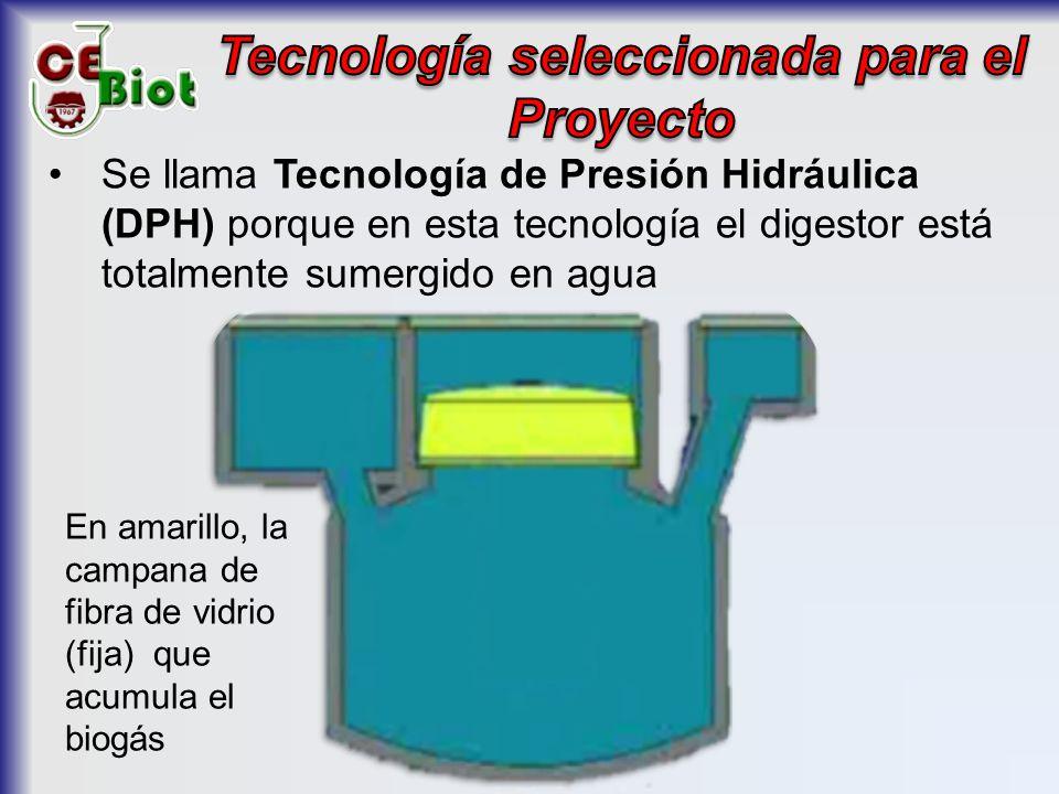 Se llama Tecnología de Presión Hidráulica (DPH) porque en esta tecnología el digestor está totalmente sumergido en agua En amarillo, la campana de fibra de vidrio (fija) que acumula el biogás