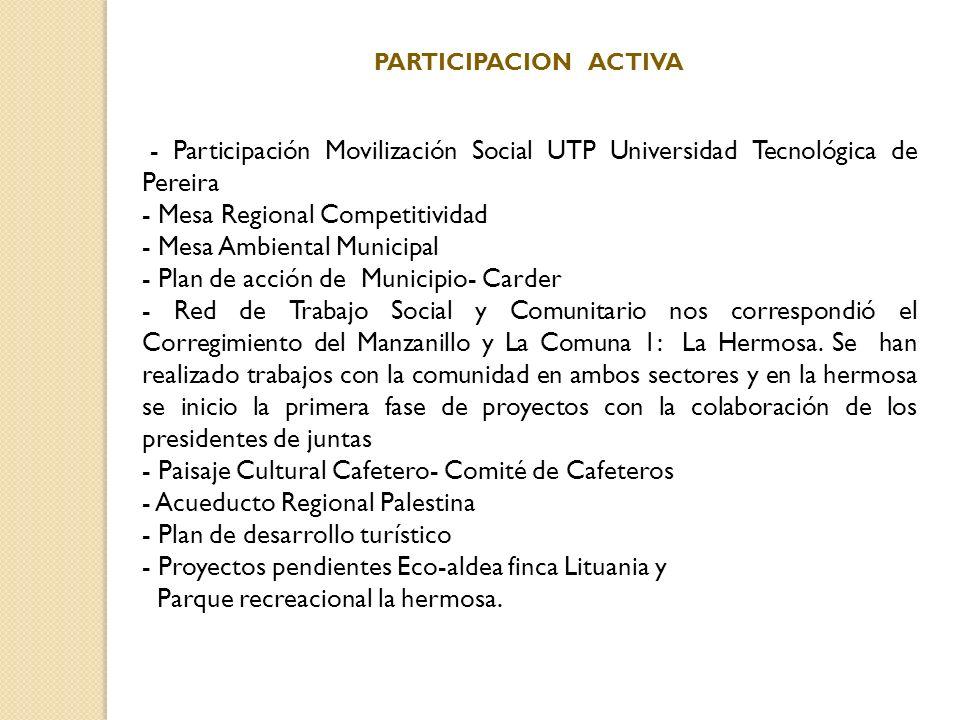 PARTICIPACION ACTIVA - Participación Movilización Social UTP Universidad Tecnológica de Pereira - Mesa Regional Competitividad - Mesa Ambiental Munici