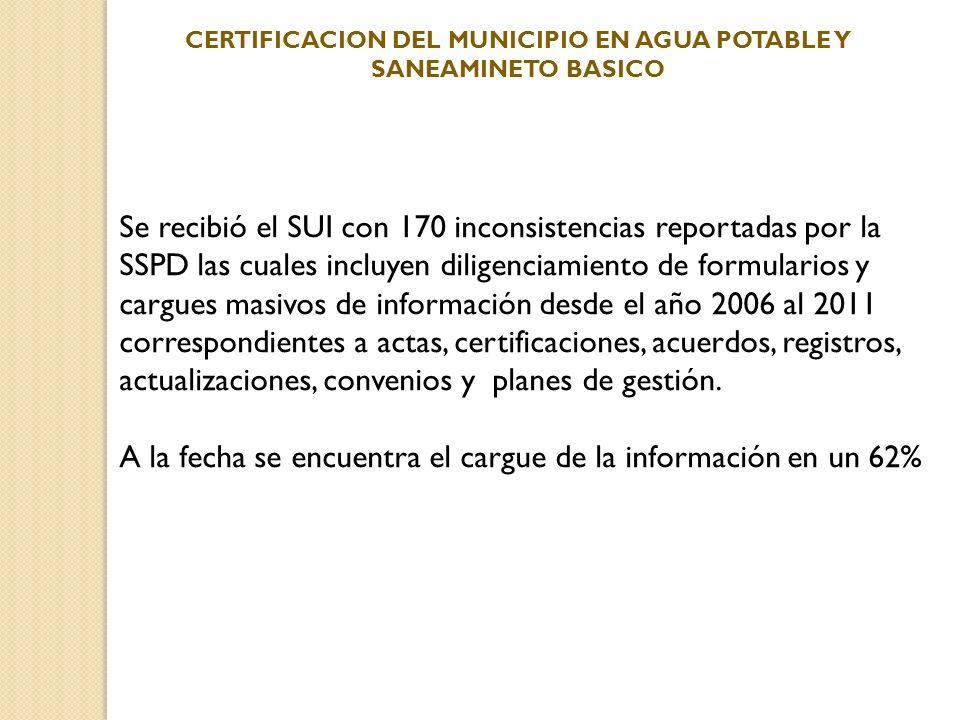 Se recibió el SUI con 170 inconsistencias reportadas por la SSPD las cuales incluyen diligenciamiento de formularios y cargues masivos de información