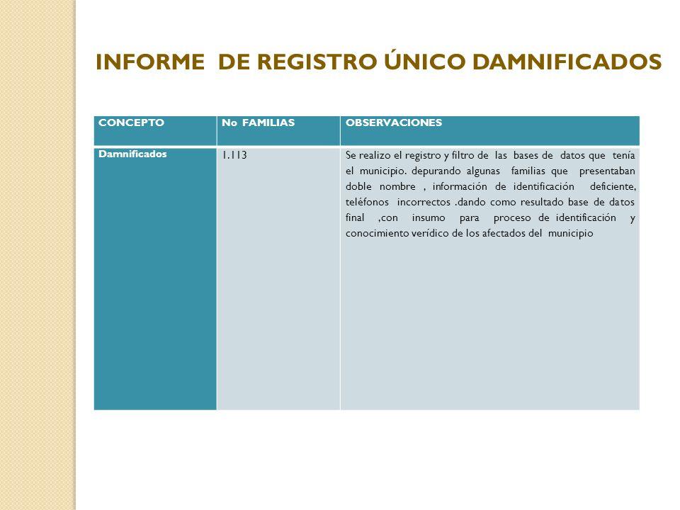 CONCEPTONo FAMILIASOBSERVACIONES Damnificados 1.113Se realizo el registro y filtro de las bases de datos que tenía el municipio. depurando algunas fam