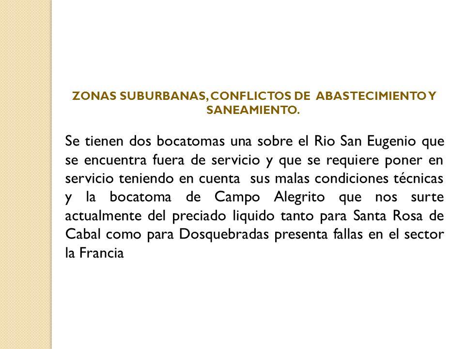 ZONAS SUBURBANAS, CONFLICTOS DE ABASTECIMIENTO Y SANEAMIENTO. Se tienen dos bocatomas una sobre el Rio San Eugenio que se encuentra fuera de servicio