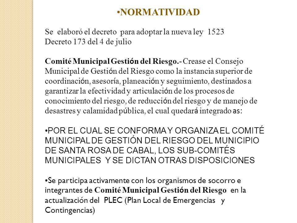 NORMATIVIDAD Se elaboró el decreto para adoptar la nueva ley 1523 Decreto 173 del 4 de julio Comité Municipal Gesti ó n del Riesgo.- Crease el Consejo