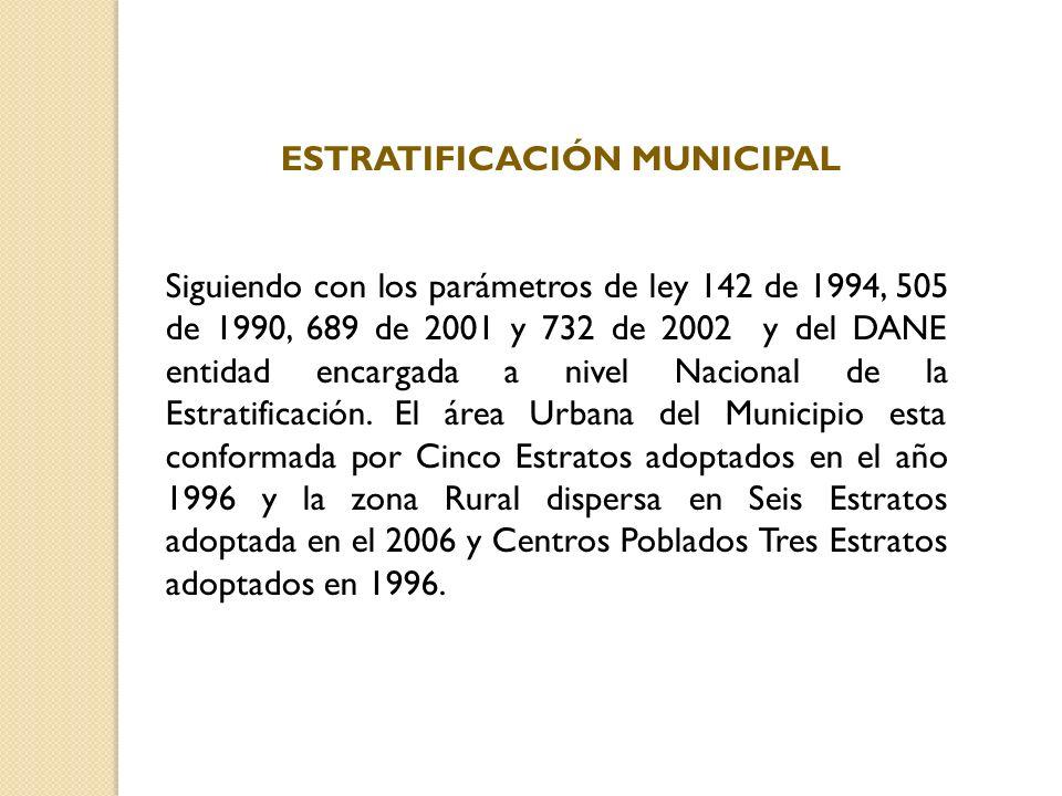 ESTRATIFICACIÓN MUNICIPAL Siguiendo con los parámetros de ley 142 de 1994, 505 de 1990, 689 de 2001 y 732 de 2002 y del DANE entidad encargada a nivel