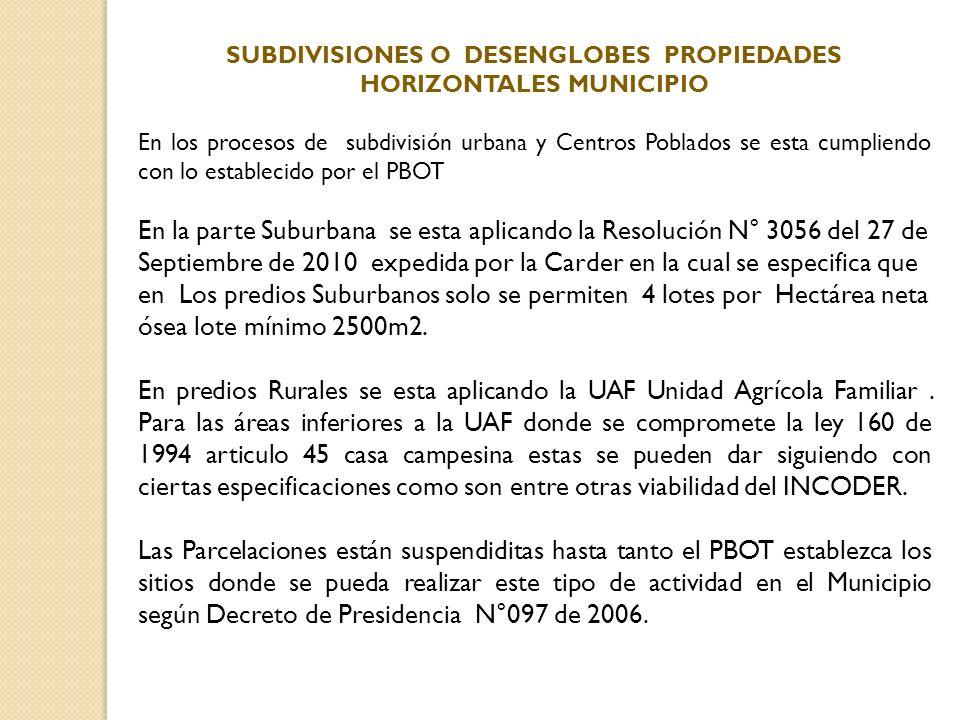 En los procesos de subdivisión urbana y Centros Poblados se esta cumpliendo con lo establecido por el PBOT En la parte Suburbana se esta aplicando la