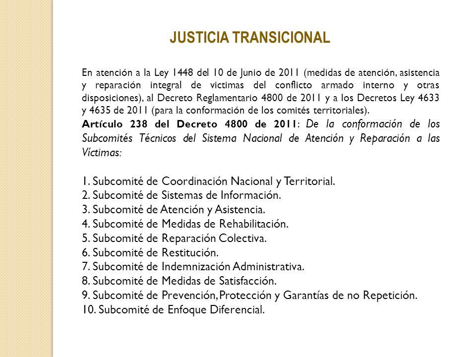 JUSTICIA TRANSICIONAL En atención a la Ley 1448 del 10 de Junio de 2011 (medidas de atención, asistencia y reparación integral de victimas del conflic