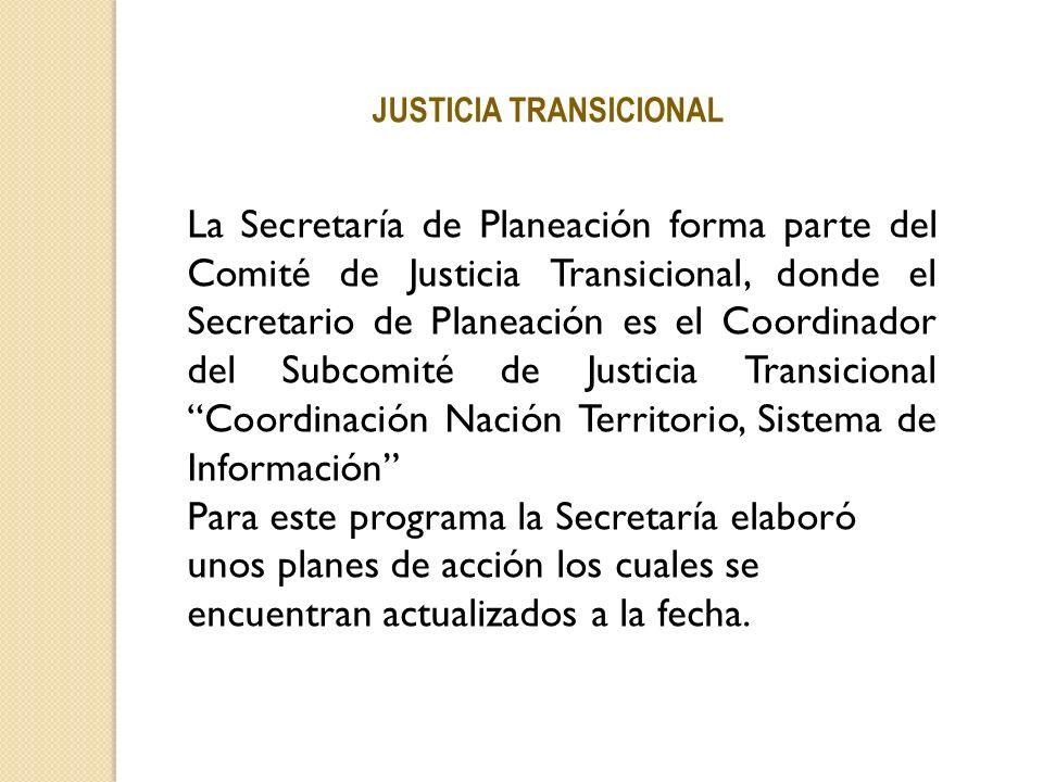 La Secretaría de Planeación forma parte del Comité de Justicia Transicional, donde el Secretario de Planeación es el Coordinador del Subcomité de Just