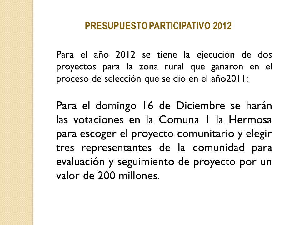 PRESUPUESTO PARTICIPATIVO 2012 Para el año 2012 se tiene la ejecución de dos proyectos para la zona rural que ganaron en el proceso de selección que s
