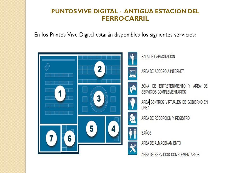 En los Puntos Vive Digital estarán disponibles los siguientes servicios: PUNTOS VIVE DIGITAL - ANTIGUA ESTACION DEL FERROCARRIL