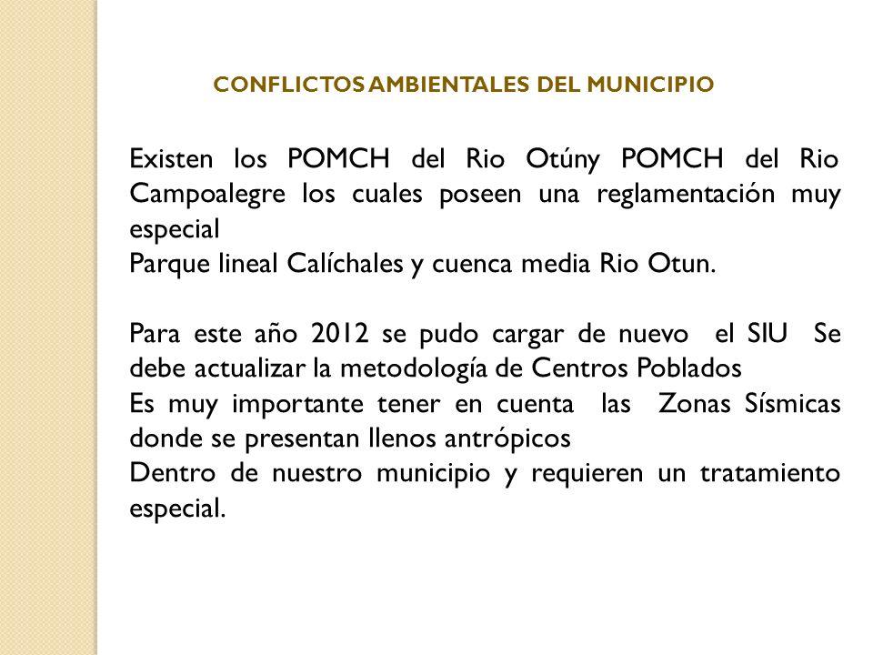 Existen los POMCH del Rio Otúny POMCH del Rio Campoalegre los cuales poseen una reglamentación muy especial Parque lineal Calíchales y cuenca media Ri