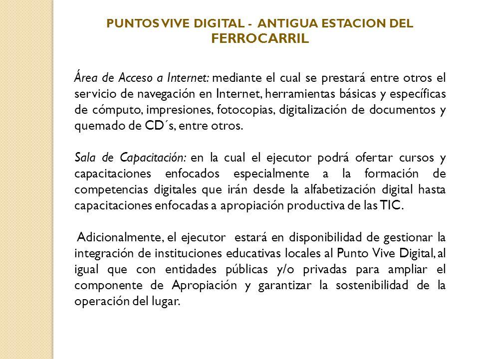 Área de Acceso a Internet: mediante el cual se prestará entre otros el servicio de navegación en Internet, herramientas básicas y específicas de cómpu