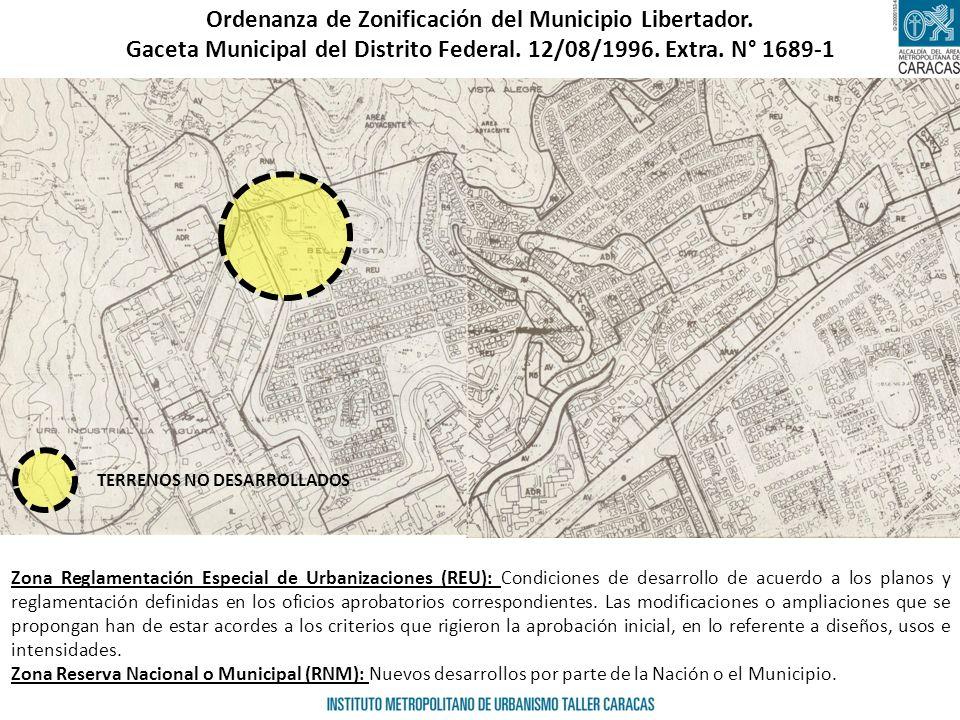 Ordenanza de Zonificación del Municipio Libertador. Gaceta Municipal del Distrito Federal. 12/08/1996. Extra. N° 1689-1 Zona Reglamentación Especial d
