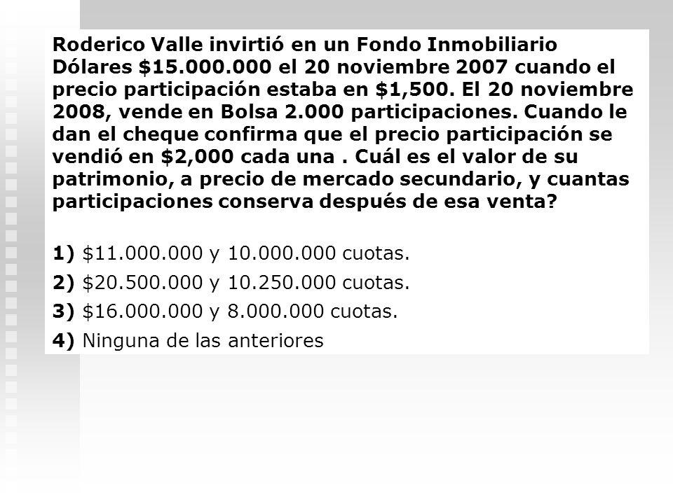 El fondo Inmobiliario Renta Renacer $ muestra los siguientes montos en su balance al final del día: Activo: Efectivo :$250.000. Inmuebles: $20.000.000