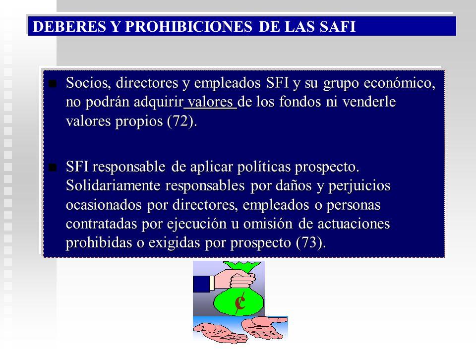 DEBERES Y PROHIBICIONES DE LAS SAFI Prohibido: Que la SFI invierta en fondos que administra. Que la SFI invierta en fondos que administra. Garantizar