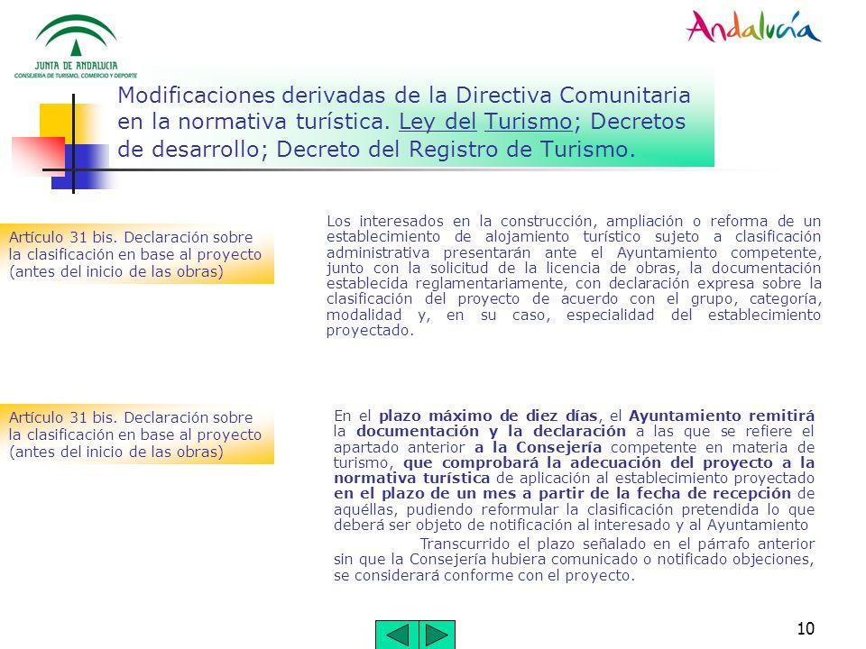 10 Modificaciones derivadas de la Directiva Comunitaria en la normativa turística. Ley del Turismo; Decretos de desarrollo; Decreto del Registro de Tu