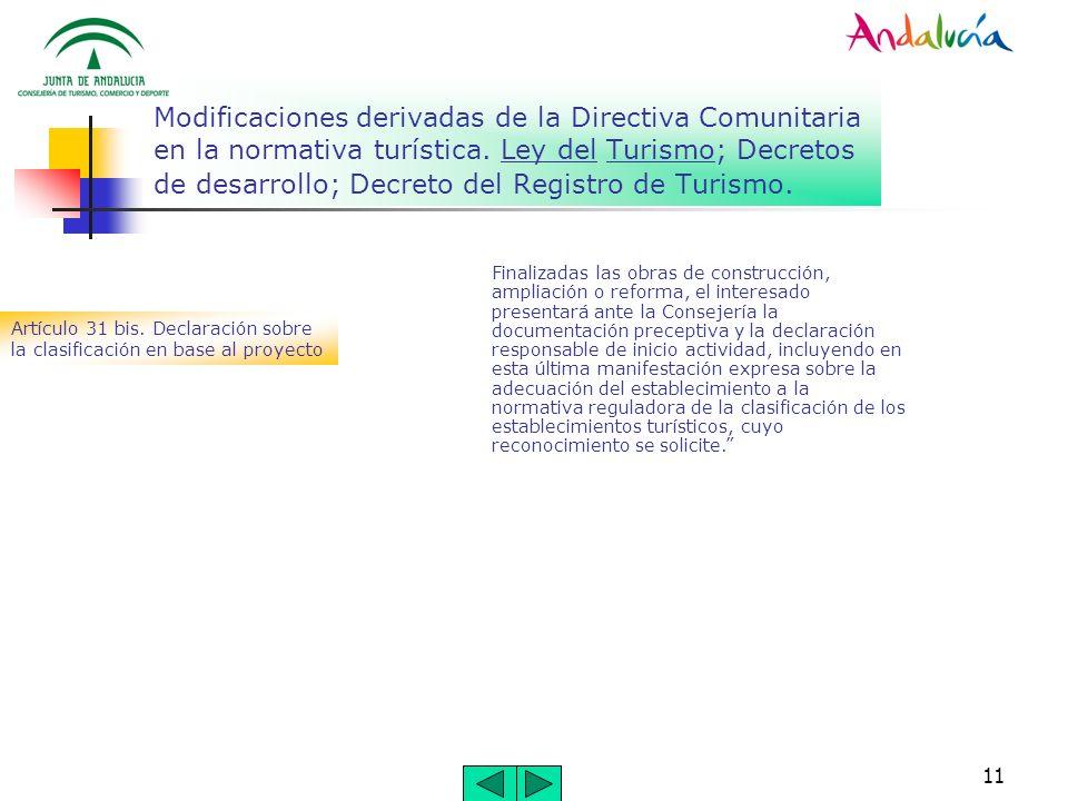 11 Modificaciones derivadas de la Directiva Comunitaria en la normativa turística. Ley del Turismo; Decretos de desarrollo; Decreto del Registro de Tu