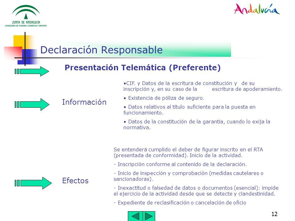 12 Declaración Responsable Presentación Telemática (Preferente) Información CIF. y Datos de la escritura de constitución y de su inscripción y, en su