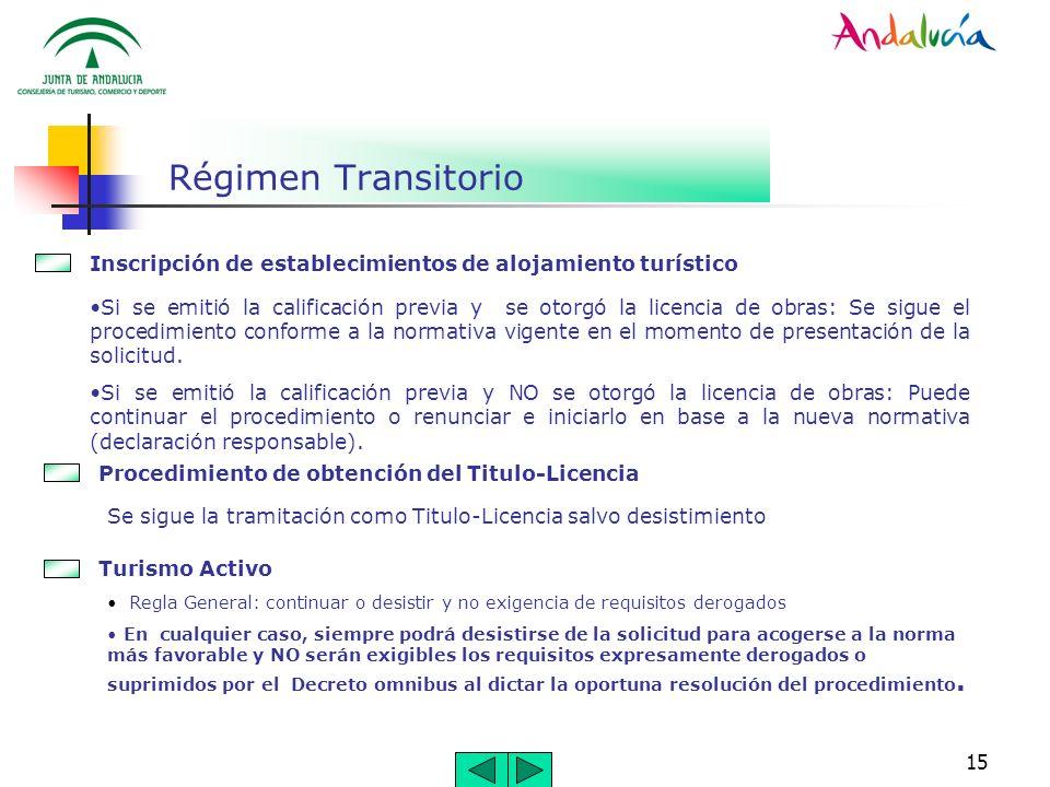 15 Régimen Transitorio Si se emitió la calificación previa y se otorgó la licencia de obras: Se sigue el procedimiento conforme a la normativa vigente